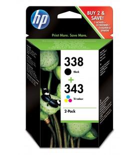HP 338 343 Original Negru, Cyan, Magenta, Galben Pachet multiplu 2 buc.