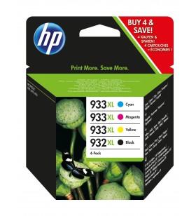 HP 932XL 933XL Original Negru, Cyan, Magenta, Galben Pachet multiplu 4 buc.