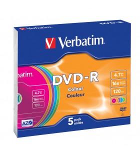 Verbatim DVD-R Colour 4,7 Giga Bites 5 buc.