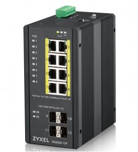 Zyxel RGS200-12P Gestionate L2 Gigabit Ethernet (10 100 1000) Negru Power over Ethernet (PoE) Suport