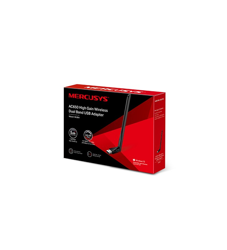 "ADAPTOR RETEA MERCUSYS wireless, de la 1 port USB2.0 la antena externa 5dBi,  600Mbps, dual band 2.4GHz si 5GHz, ""MU6H""(includ"