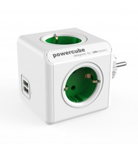 """PRIZA cubica POWER CUBE ALLOCACOC, 4 x prize Schuko, 2 x USB, max. 16A, green, """"SPP1609"""""""