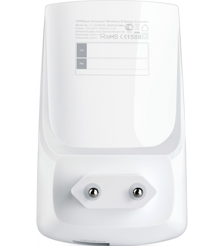 "RANGE EXTENDER TP-LINK wireless  300Mbps, 1 port 10/100Mbps,  2 antene interne, 2.4GHz, ""TL-WA850RE"" 45504687 (include timbru"