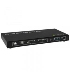 Techly 4x1 USB HDMI KVM Switch 4Kx2K IDATA KVM-HDMI4U switch-uri pentru tastatură, mouse și monitor (KVM) Negru