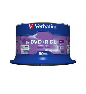 Verbatim DVD+R Double Layer 8x Matt Silver 50pk Spindle 8,5 Giga Bites DVD+R DL 50 buc.
