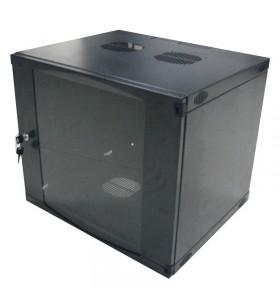 """CABINET 19"""" LOGILINK   6U, fixare pe perete, Flatpack (dezasamblat),  Black, 330 (h) x 540 (w) x 450 (d) mm, usa sticla cu bloc"""