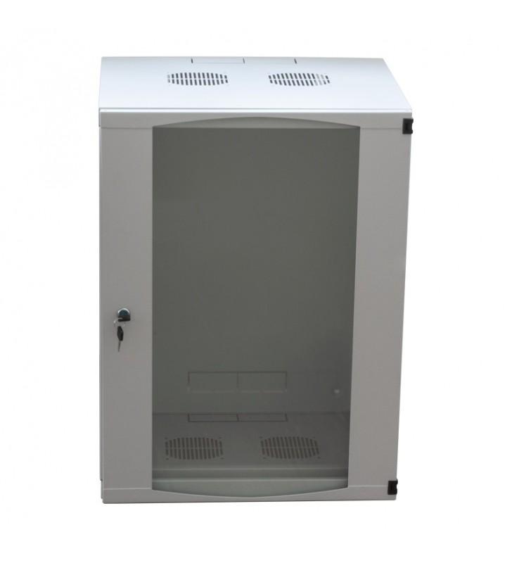 """CABINET 19"""" LOGILINK   9U, fixare pe perete, Flatpack (dezasamblat),  Light Grey, 460 (h) x 540 (w) x 450 (d) mm, usa sticla cu"""