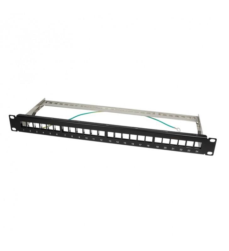"KEYSTONE PANEL LOGILINK, 1U pentru rack 19"", 24 Ports, shielded, black ""NK4042"""