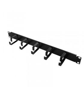 """PANOU gestionare cabluri LOGILINK, 1U pentru rack 19"""", 5 inele de metal pentru prinderea cablurilor, Black """"OR101B"""""""
