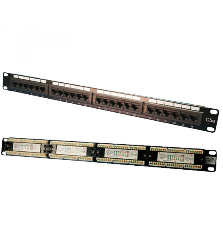 "PATCH PANEL LOGILINK 24 porturi,  UTP, Cat5e, 1U pentru rack 19"", black, ""NP0027"""