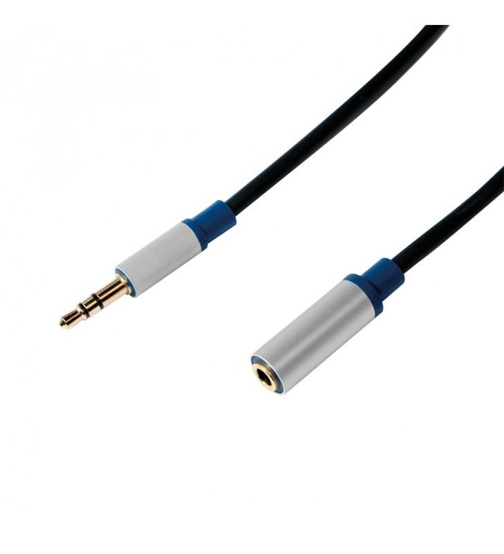"""CABLU audio LOGILINK  prelungitor stereo (3.5 mm jack M/T), 1.5m, premium, conectori auriti, negru """"BASE15"""""""