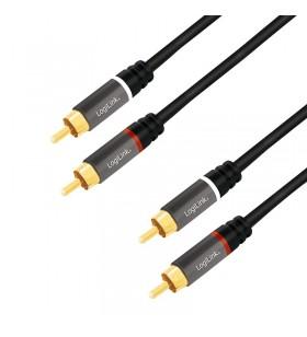 """CABLU audio LOGILINK  stereo (RCA T/T),  1.5m, conectori auriti, negru """"CA1203"""""""