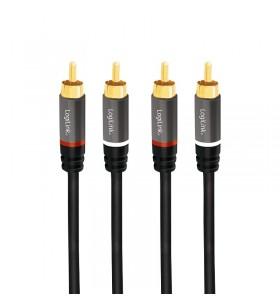 """CABLU audio LOGILINK  stereo (RCA T/T),  2m, conectori auriti, negru """"CA1204"""""""