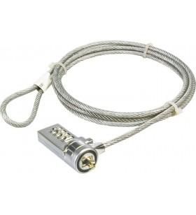 """CABLU securitate LOGILINK pt. notebook, slot standard, cifru cu patru discuri, 1.5m, cablu otel, """"NBS002"""""""