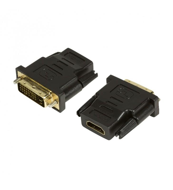 """ADAPTOR video LOGILINK, DVI-D DL (T) la HDMI (M), conectori auriti, rezolutie maxima Full HD (1920 x 1080) la 60 Hz, negru, """"AH"""
