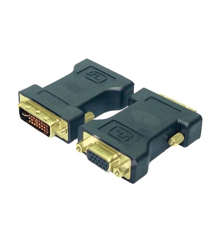 """ADAPTOR video LOGILINK, DVI-I DL (T) la VGA (M), conectori auriti, negru, """"AD0001"""""""