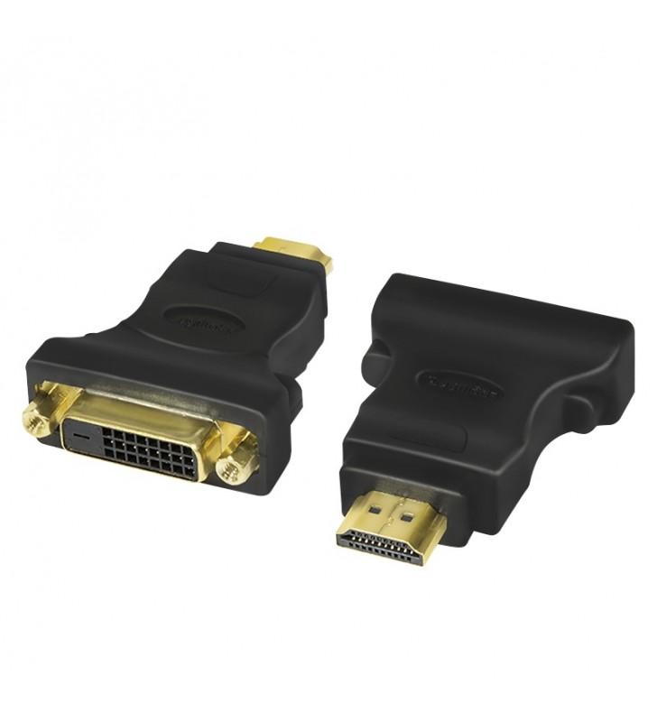 """ADAPTOR video LOGILINK, HDMI (T) la DVI-D DL (M), conectori auriti, rezolutie maxima Full HD (1920 x 1080) la 60 Hz, negru, """"AH"""