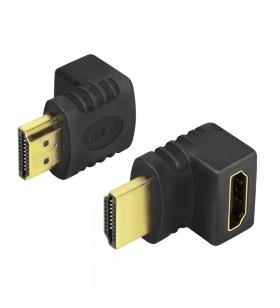 ADAPTOR video LOGILINK, HDMI (T) la HDMI (M), conectori auriti, in unghi de 90 grade, rezolutie maxima 4K UHD (3840 x 2160) la 3