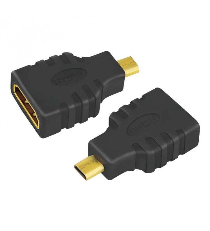 ADAPTOR video LOGILINK, Micro-HDMI (Type D)(T) la HDMI (M), conectori auriti, rezolutie maxima 4K UHD (3840 x 2160) la 30 Hz, ne