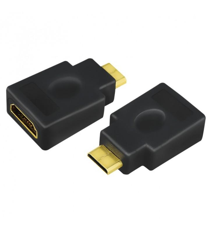 ADAPTOR video LOGILINK, Mini-HDMI (Type C)(T) la HDMI (M), conectori auriti, rezolutie maxima 4K UHD (3840 x 2160) la 30 Hz, neg