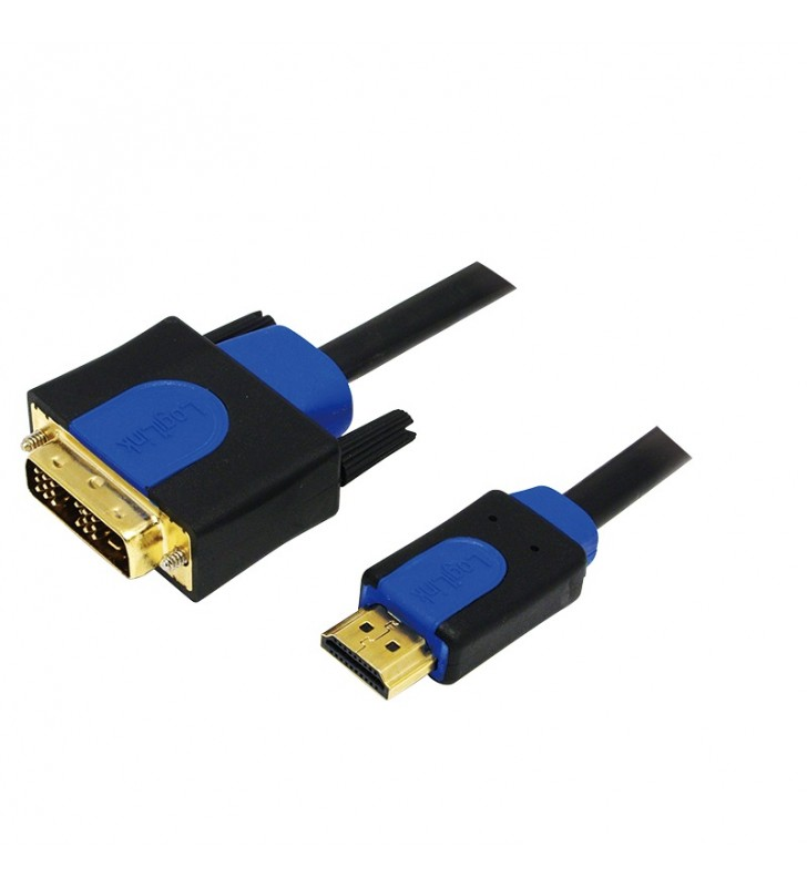 "CABLU video LOGILINK, adaptor HDMI (T) la DVI-D SL (T), 5m, conectori auriti, Full HD+ (1920 x 1200) la 60 Hz, negru, ""CHB3105\"