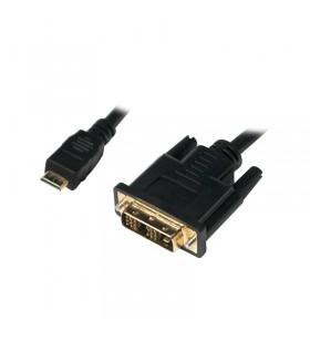 """CABLU video LOGILINK, adaptor Mini-HDMI (Type C)(T) la DVI-D SL (T), 2m, conectori auriti, negru, """"CHM004"""""""