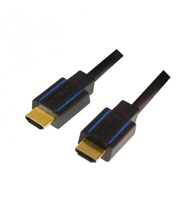 "CABLU video LOGILINK, HDMI (T) la HDMI (T), 5m, conectori auriti, rezolutie maxima 4K UHD (3840 x 2160) la 30 Hz, negru, ""CHB00"