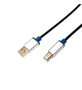 """USB 2.0 cable, AM to BM, aluminum shell, blister, 1.5m """"BUAB215"""""""