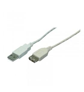 USB Cable, USB 2.0, male/female, grey, 3,00m