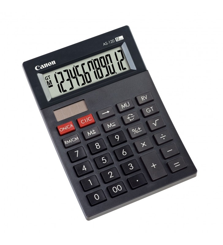 "Calculator birou Canon AS120, 12 digits, 29 keys, dual power, M+, M- ,RM/CM  ""BE4582B001AA"""