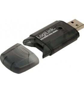 CARD READER extern LOGILINK, USB 2.0,  pentru MMC, RS-MMC, SD, SDHC, viteza 480Mbps, greutate: 28g si dimensiuni: 105x138x20mm,