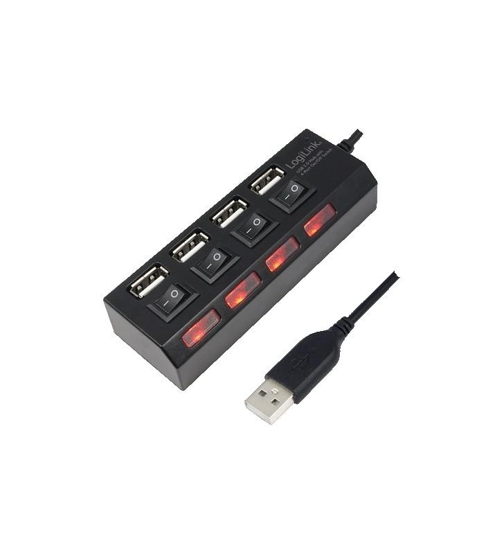 "HUB USB 2.0 extern LOGILINK,  4*USB, incl. alimentare, porturi on/off, black ""UA0128"" (include timbru verde 0.5 lei)"