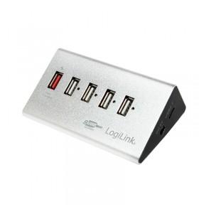 "USB 2.0 HUB 4+1 port, aluminum, incl. power supply ""UA0224"""