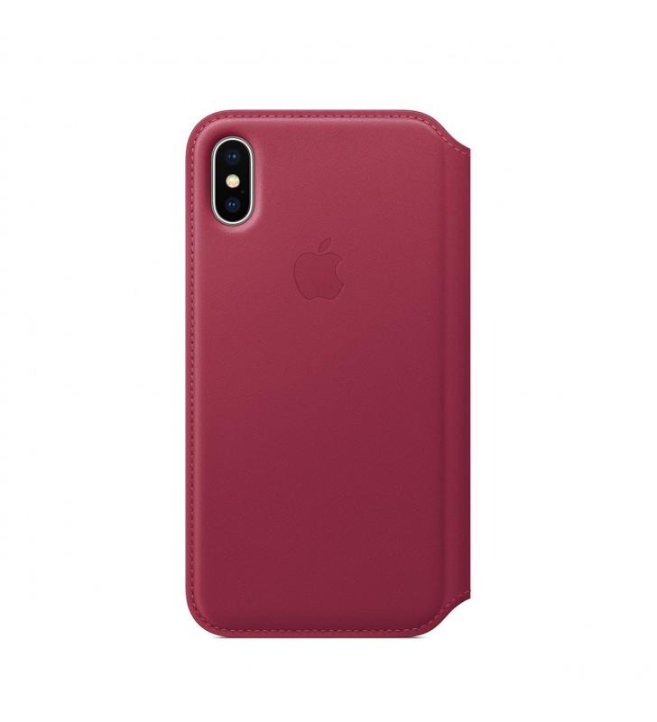 Husa de protectie Apple Folio pentru iPhone X, Piele - Berry
