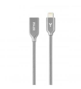 Cablu de date iSTYLE Lightning - USB-A, 1.2m, Argintiu
