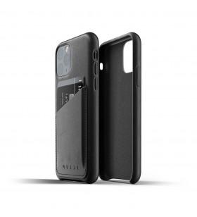 Husa de protectie Mujjo tip portofel pentru iPhone 11 Pro, Piele, Negru