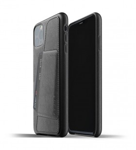 Husa de protectie Mujjo tip portofel pentru iPhone 11 Pro Max, Piele, Negru