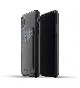 Husa de protectie Mujjo tip portofel pentru iPhone Xs, Piele, Negru
