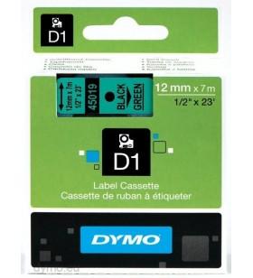 DYMO D1 Standard - Black on Green - 12mm benzi pentru etichete Negru pe verde