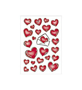HERMA DECOR stickers hearts&letters silver embossed 2 sheets etichete auto-adezive
