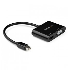StarTech.com MDP2VGAHD20 adaptor pentru cabluri video Mini DisplayPort HDMI + VGA (D-Sub) Negru