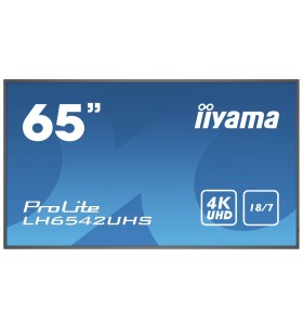 "iiyama LH6542UHS-B1 Afișaj Semne 163,8 cm (64.5"") IPS 4K Ultra HD Panou informare digital de perete Negru Procesor încorporat"