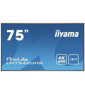 "iiyama LH7542UHS-B1 Afișaj Semne 189,2 cm (74.5"") LED 4K Ultra HD Panou informare digital de perete Negru Procesor încorporat"