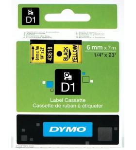 DYMO D1 Standard - Black on Yellow - 6mm benzi pentru etichete Negru pe galben
