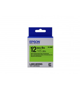 Epson Label Cartridge Fluorescent LK-4GBF Black Green 12mm (9m)