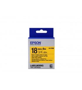 Epson Label Cartridge Strong Adhesive LK-5YBW Black Yellow 18mm (9m)