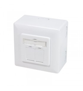 "Cat.6 Wall Outlet UP+AP 2xRJ45 STP, signal white ""NP0039A"""