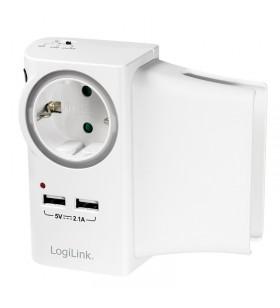 "PRIZA LOGILINK  1 x priza Schuko 16A, 2 x USB charger port 5V max. 2.1A, suport pt. telefon sau tableta, LED, white, ""PA0165"""
