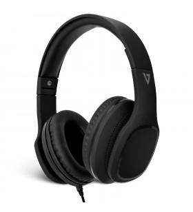 V7 HA701-3EP cască audio & cască cu microfon Căști Bandă de fixare pe cap Negru