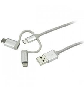StarTech.com LTCUB1MGR cabluri USB 1 m 2.0 USB A Micro-USB B Argint